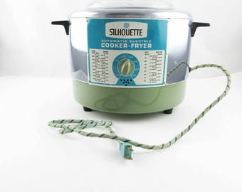 A 'Silhouette' Automatic Electric Cooker-Fryer' by Gamble-Skogmo, Minneapolis - 1960s Avocado Green With Blue and White Metal Info Panel