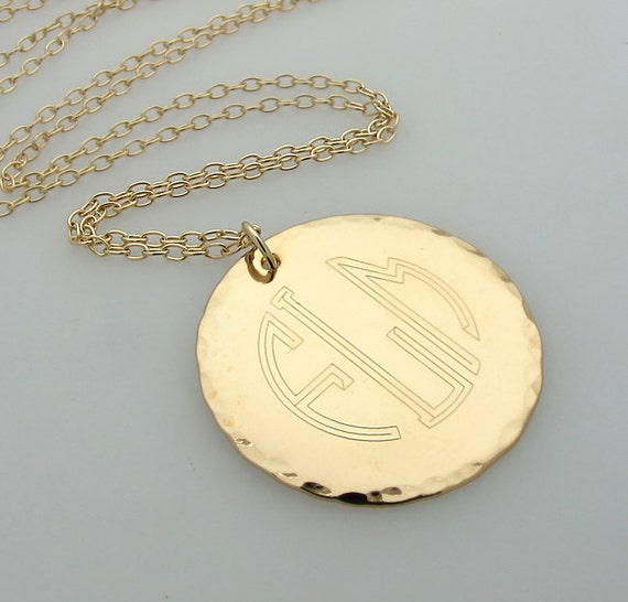 3 initial monogram necklace gold engraved pendant like this item aloadofball Choice Image