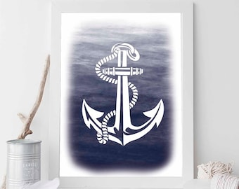 Navy Anchor, Navy Print, Navy Nautical Print, Navy Decor, Anchor Print, Anchor Prints, Anchor Art, Beach Art, Nautical Wedding Decor