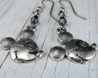 MIckey Mouse Silver Earrings Mickey Mouse Head Charm