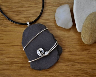 Wire wrapped slate pebble pendant necklace, Gift for her.