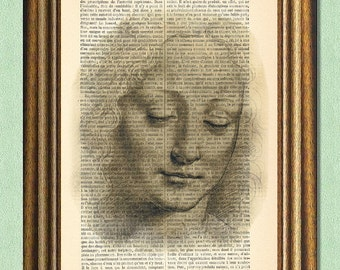 DA VINCI GIRL - Dictionary Art - Wall Art - Printed Antique Book Page -