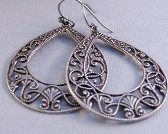 Barefoot Gypsy,Silver Earrings,Antique,Vintage Style,Wedding,Bride,Antique Earrings,Boho,Hamsa,Boho Earring,Hoop Earring.valleygirldesign