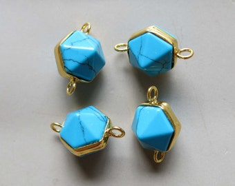 Turquoise Pendant with Golden Edge Double Bail Connector Link - B1363