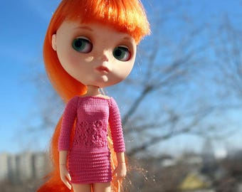 Blythe pink knitted dress Doll cotton dress Doll knitted outfit Doll knitwear Blythe outfit Doll knit clothing