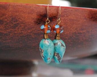 Teal Ceramic Earrings, Polka Dot Earrings, Boho Earrings, Pod Earrings, Lampwork Earrings, Earthy Earrings,