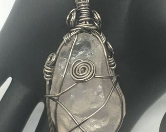Clear Quartz Pendant with Gunmetal wire wrap