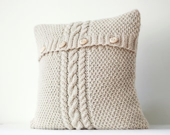 Cable hand knitted  pillow cover - ivory decorative pillows case - handmade home decor 16x16   0183