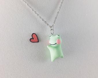 Kawaii Fashion Mint Necklace // Kawaii Necklace Handmade Jewelry // Kawaii Frog Necklace