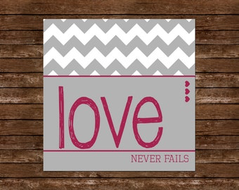 Love Never Fails Wall Art ~ Printable ~ Square