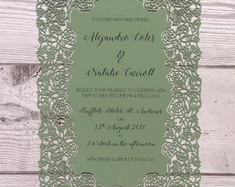 Laser cut rose floral themed wedding stationery greenery wedding invitations