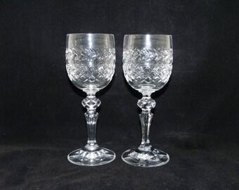 Lead Crystal Wine Glasses x 2, Hexagonal Stems, Crosshatch and Laurel, Criss Cross, Clear Glass, White Wine, Stemware, Glassware, 0625