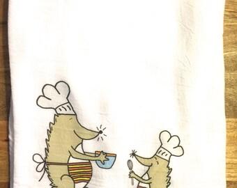 Hedgehog Chef Flour Sack Tea Towel