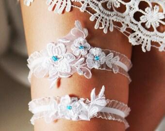 Wedding Garter Bridal Garter Lace Garter - Something Blue Garter Set - Rustic Garter Bohemian Garter Flower Garter Ivory Floral Garter