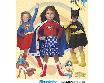 Simplicity 1035 pattern  DC Comics Wonder Woman, Supergirl, Batgirl  Child's Sizes 3-8