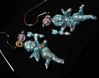 Sweet Cherubs with Amethysts Earrings... Angels flying near your ears... bringing beauty and good cheer.