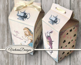 Alice in Wonderland Milk Box printable Favor Box paper crafting diy digital download instant download digital collage sheet - VDBXAL1432