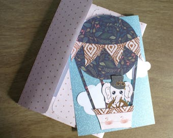 Hot Air Balloon Elephant Card
