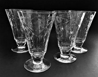 4 Cut Crystal Ice Tea Glasses Rock Sharpe Cut Glass Footed Tumblers