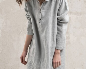 Casual linen dress women 15 colors, Custom dress for women, Linen shirt dress with pockets, Grey linen dress, Natural linen women's clothing