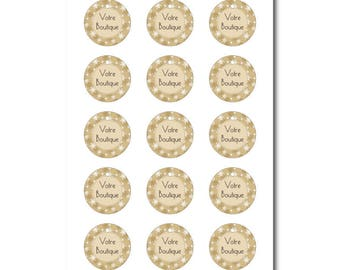 Labels round beige personnalsiable Christmas snowflakes print, print label, graphic design