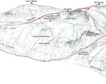 Ben Macdui from Deeside. Line illustration showing the classic round.