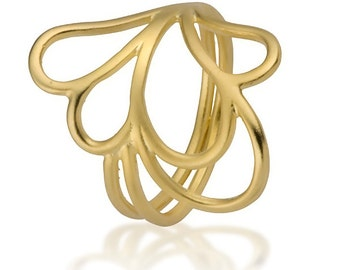 Solid Gold Ring, Unique Rings For Her, Gold Ring, Flower Ring, Delicate Ring, Nature Ring, Flower Ring Gold, Dainty Ring, Floral Ring