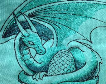 Teal dragon's nest cinch bag