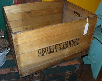 Large True Vintage (1949) Folding Wooden Box - George's Bakery Sulfur Springs TX Hubbard Folding Box USA