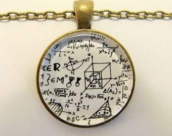 MATH EQUATION Necklace -- Geometry, algebra and calculus necklace, Cubes, Angles and triangles, Mathematics art