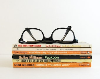 Set of 6 Spike Milligan Books - Vintage Penguin Books Irish Humour and Wit - Illustrated Books - Instant Collection Orange Paperback Books