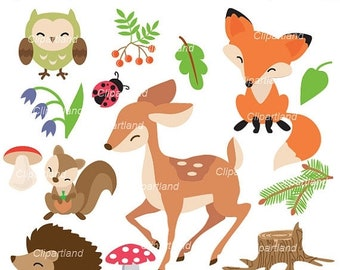 ON SALE INSTANT Download. Cfor_48_forest. Woodland clip art. Personal and commercial use.