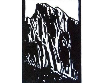 UNDER THE WATCHMAN   6 x 4   Original Linocut Print   By Carol Bold