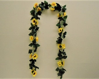 YELLOW Sunflowers Chain Garland Artificial Silk Flowers 6 ft Vine 031YL