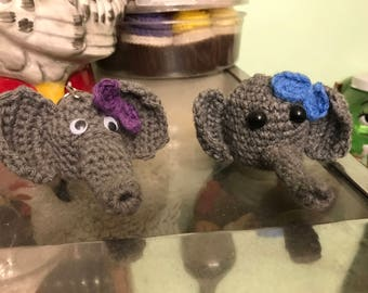 Crochet elephant lip balm holder
