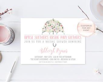 Bridal Shower Invitation, Umbrella Bridal Shower Invite, Pretty Bridal Shower Invites, April Showers Bring May Flowers, Shower Invite [448]