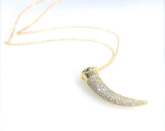 Pave Horn Long Pendant Necklace/ Long Layering Necklace