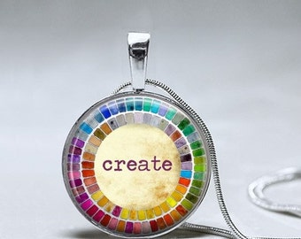 Artist Necklace- Painter Palette necklace - Artist Create pendant -Gift for Artist - gift for art student - gift for watercolor artist
