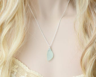 Sea Glass Necklace Beach Glass Beach Wedding Seaglass Sterling Silver Necklace Seaglass Necklace Sea Glass Pendant Sea Glass Jewelry Gift