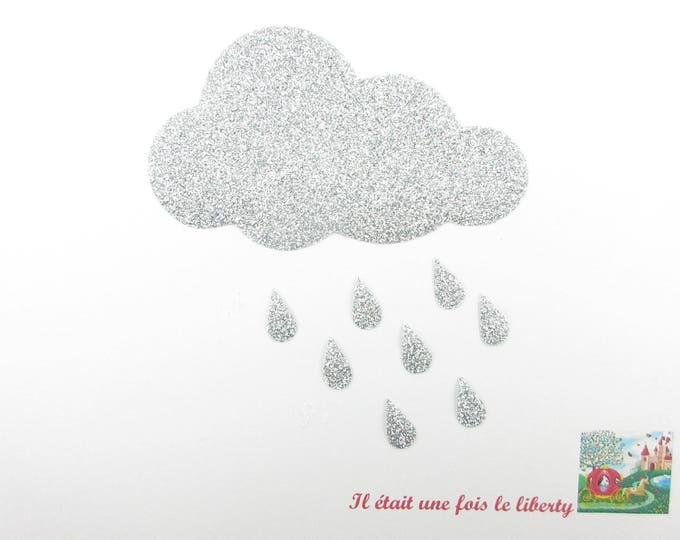 Applied fusing cloud patch cloud pattern fusible iron-on glittery silver glitter flex rain cloud patch