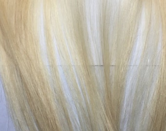 Extra Clip in Hair Extensions Streak Bleach Blonde 1 Piece Strip for You 13 grams 14 inches long 3 Clips Hair Filler Remy Human Hair Clip on