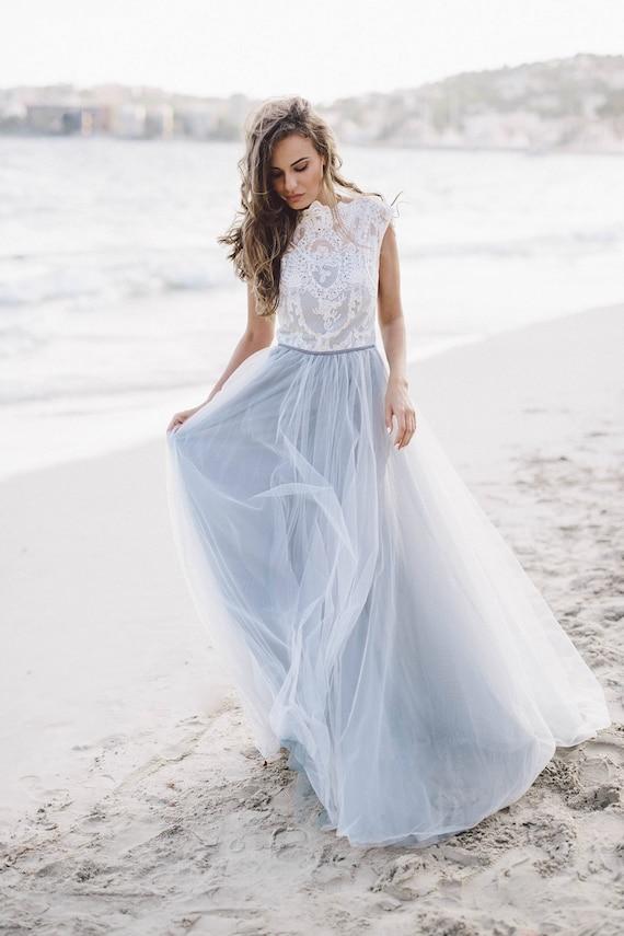 Grey wedding dress Diamond / Sleeveless bridal gown /
