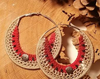 Crochet hoop earrings with crystal beads.