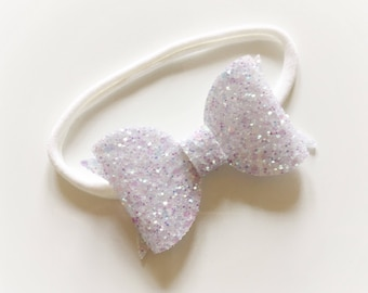 Chunky white glitter bow on nylon headband - baby toddler headbands, one size headband