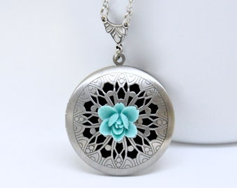 Teal Blue Flower Locket Necklace, Antique Silver Locket, Filigree Locket, Lotus Flower Locket, Flower Necklace, Floral Scent Locket Pendant