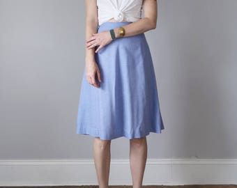 60s skirt / light blue chambray high waist aline knee length cotton (s - m)