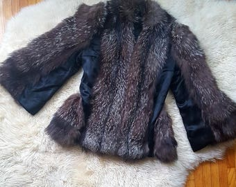 sz. S/M | Vintage Fur and Satin Swing Coat