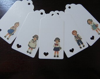 "10 large tags ""Little girls"" kraft 5 x 10 cm"