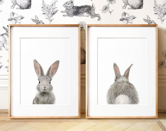 Set of 2 bunny prints, PRINTABLE wall art, The Crown Prints, Nursery art, Woodland animals, Nursery art, Baby animal prints, Nursery animals
