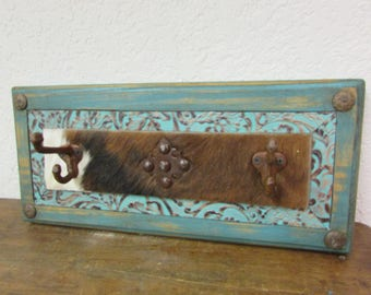 Turquoise Ranch Hat Rack II- Rustic -Wood-Mexican-Western-Cowboy-Coat Rack-Cowhide-Leather-Tooled-18x8x5